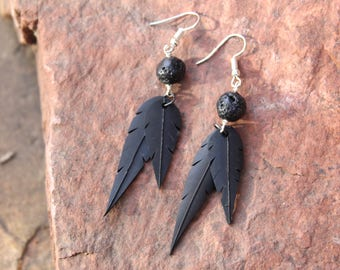 Faux Feather Earrings | Recycled Bike Tire Tubes | Black Lava Rock Beads