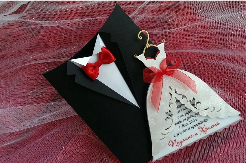 10 pcs Wedding Invitation Boxes Groom Suit