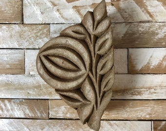 Vintage Wood Printing Block Stamp Made in India Floral/Flower Design (#4)