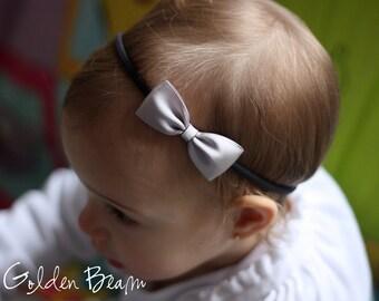 Silver Baby Headbands Bows - Flower Girl Headband - Small Satin Silver Bow Handmade Headband - Baby to Adult Headband