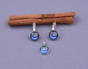 OWL earrings, OWL jewelry set, Dangle earrings, Drop Earrings, Graphic earrings, Cabochon earrings, birthday, mom, girlfriend, woman