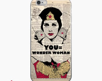 YOU Equals Wonder Woman Dictionary Art iPhone 7 8 X Case, iPhone 7 Plus Case, Wonder Woman Print Inspirational Quote Superhero iPhone 6s