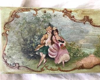 ANTIQUE French ROMANTIC Shabby Chic Glove Box
