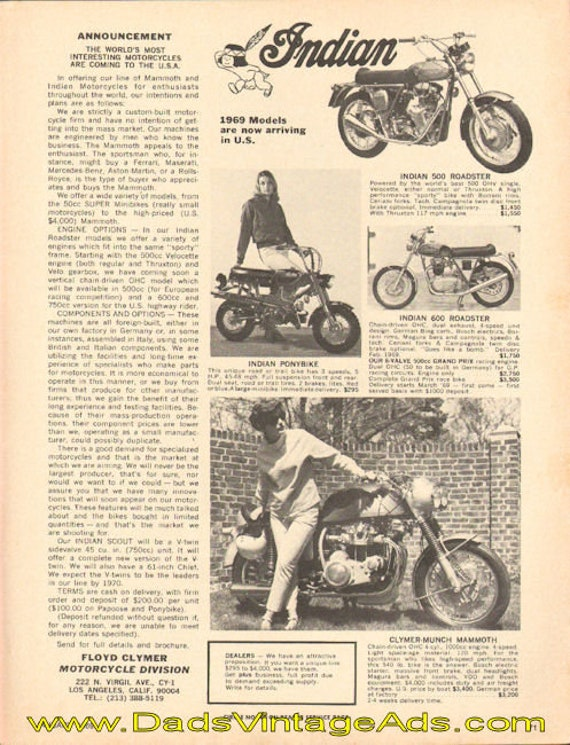 1969 Indian models now arriving in U.S. Ad #e69aa01