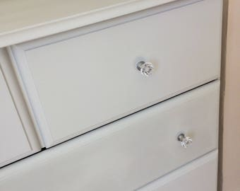 SOLD ** Chest Of Drawers Grey Shabby Chic With Crystal Knobs
