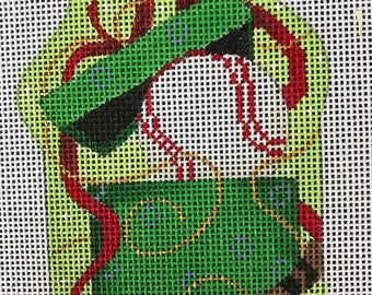 """50% OFF Handpainted Needlepoint Associated Talents #CT1252 """"Baseball in Present"""" Ornament"""