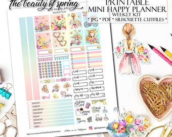 The beauty of spring mini happy planner kit/Happy Planner Stickers/Mini happy planner stickers/Spring planner stickers/Floral planner kit