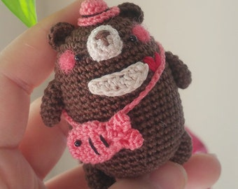 Amigurumi Mini Moon Bear with Fish Bag *Made2Order*