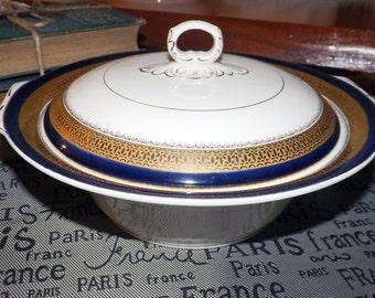 Quite vintage (1930s) Myott Staffordshire Formelite BU619 covered vegetable serving dish   tureen. Cobalt, encrusted gold.