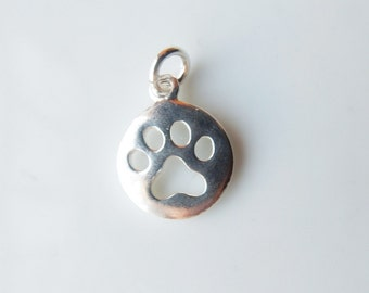 Sterling silver round charm with dog paw cutout, dog paw charm, (11x14mm), dog paw charm,