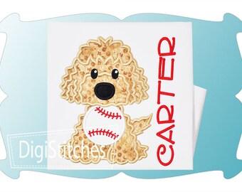 Personalized Golden Lab Doodle Dog Baseball Softball Monogram Applique Shirt or Onesie Girl Boy