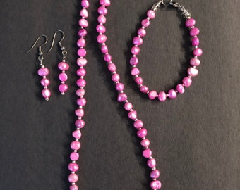 Summer pink fresh water pearl necklace set