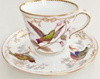Rare teacup, hand painted birds by John Randall, Coalport 1868