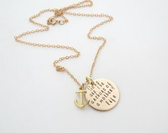 Sons are a Anchor - Mothers Necklace - Anchor Charm - Sons Names
