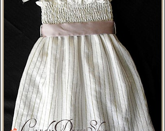 Ivory dress - Girls organdy Dress - Spring and Summer dress - Striped organdy dress Easter dress - Birthday dress - party dress