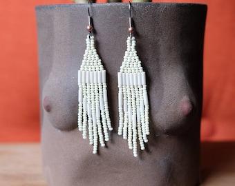 White Hot Medium // Native American Beaded Earrings / Boho / Creme
