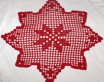 crochet doily,crochet table cloth, christmas doily, red doily, red crochet doily, christmas decor, christmas,  weichnacht, geheklet