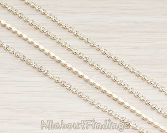 CHN075-CL-G // Glossy Gold Plated Clear Crystal Cubic Zirconia Linked Chain, 1 Meter.