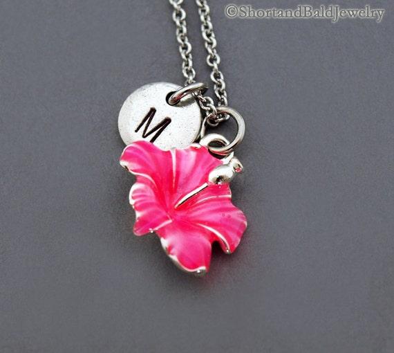 hibiscus necklace pink hibiscus hibiscus charm necklace