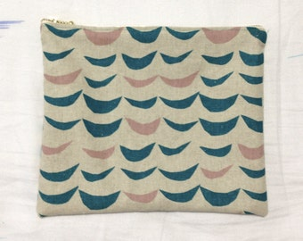 Teal & Rose Waves Zip Pouch