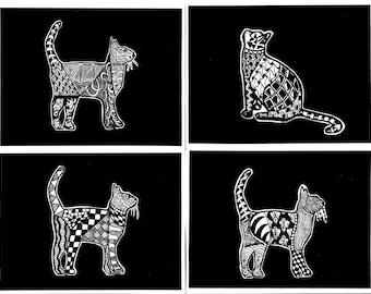 Zentangled Cat Silhouette Cards. Always Original.