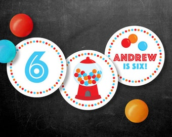 Personalized Gumball Party Cupcake Toppers – 2 Inch Circles  – DIY Printable Red (Digital File)