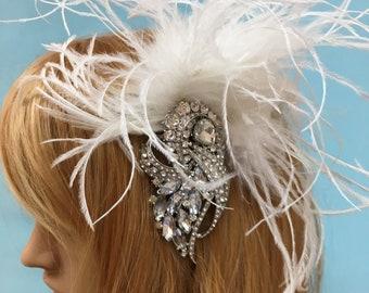 1920s Flapper Headpiece, Feather Wedding Fascinator, Feather Bridal Fascinator, Feather Wedding Headpiece, Feather Bridal Headpiece