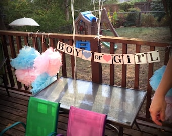 Boy or Girl Banner / Gender Reveal Party Decor / Baby Announcements / Baby Shower / Nursery Garland Sign / New Baby / Gender Reveal Cards