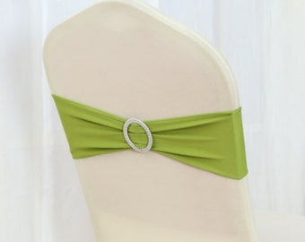 Green Spandex Chair Bands Chair Sashes Chair Bow Tie Ribbon Wedding Engagement Birthday Anniversary Party Reception Bouquet Chair Decoration