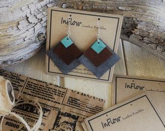 Leather Earring, geometric shaped earrings, bohemian jewelry, statement erarrings, genuine leather earrings