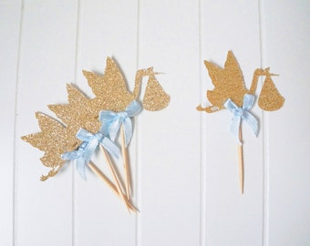 Stork Baby Shower Cupcake Toppers