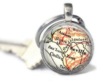 Seville, Spain Keychain, Mother daughter, Aunt Gift, Best Friends, Nana Gifts, Godmother gift, Godparent Gift, Map Gift, Personalized