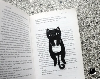 Cat Bookmark - 3D Printed in Black Plastic