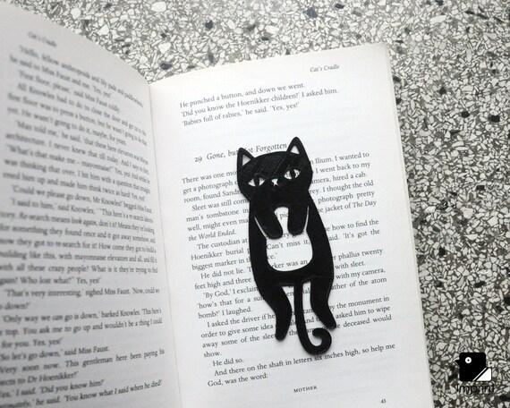 Cat Bookmark 3D Printed in Black