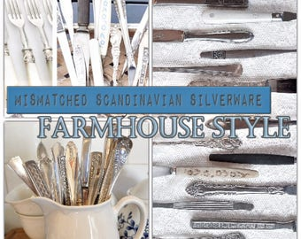 Mismatched Farmhouse Style silverware, farmhouse decor, silverware set, silver plate, cutlery set, flatware set, Service for 4, 8, 12+