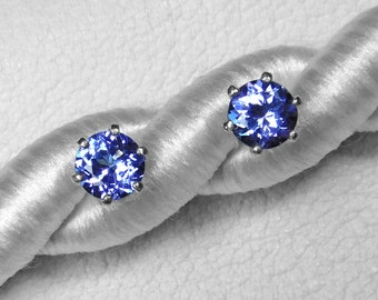 Tanzanite Stud Earrings / Blue Gemstone/ Tanzania/ Africa/ Sterling Silver/ Tanzanite Jewelry