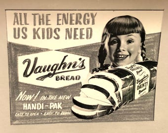 """Vintage Vaughn's Dainty Bread Advertising Proof Photograph """"All The Energy Kids Need"""""""
