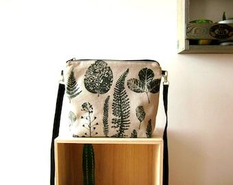 Medium size handbag, wild plants bag, naturalistic handbag, Crossbody bag, Hand printed bag, cotton bag, Every day bag, vegan bag