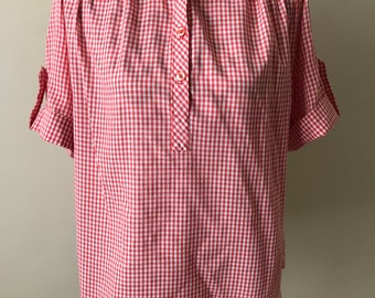 90s red and white gingham top