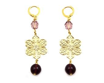 NEW Statement Earrings, Purple Earrings, Long Earrings, Flower Earrings, Purple Statement Earrings, Statement Jewelry, Floral Jewelry