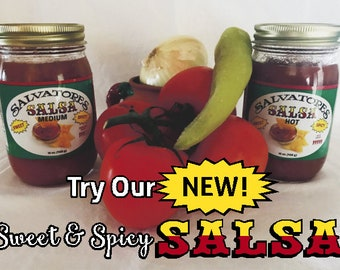 Salvatore's Sweet and Spicy Salsa Two pack  Hot and mild combo