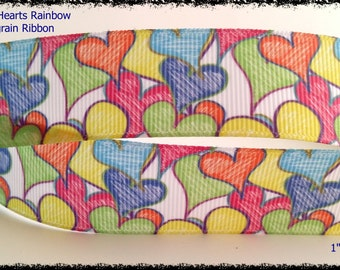 Colored Hearts Printed Grosgrain Ribbon 1 inch wide Scrapbooking HairBows Parties DIY Projects az82
