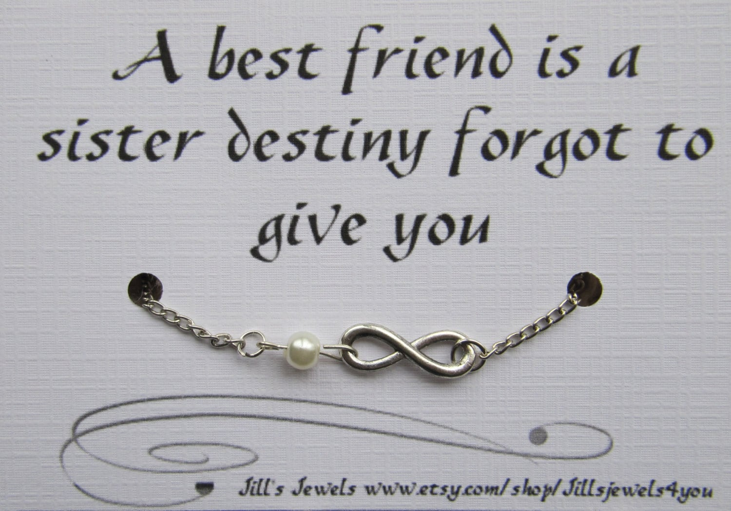 Infinity Quotes Best Friend Infinity Charm Bracelet With Pearl And Quote