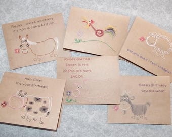 Funny Farm Hand Stitched Greeting Cards Horse Cow Rooster Goat Pig Sheep Birthday Everyday