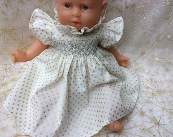 dress polka dots and silver smocked doll 30 cm