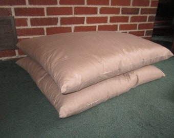 Vintage Pair of Large 23 Inch Floor Cushions Covered in Beige Cotton Blend