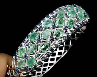 925 silver bracelet with natural emeralds