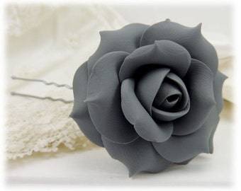 Gray Rose Hair Clip Pin - Gray Rose Hair Flower, Gray Flower Hair Pin