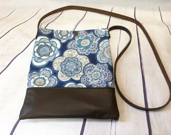 Floral and leather Hipster bag