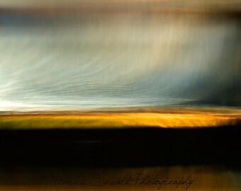 Ethereal landscape, yellow, blue, black, horizon landscape, surreal landscape, abstract seascape, huge photo, huge canvas, imaginative photo